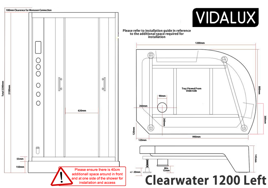 Clearwater Left Dimensions