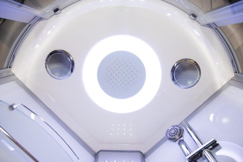 Hydro Plus White monsoon shower head and speakers